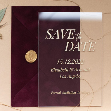 Burgundy Velvet & Clear Glass Save the Date