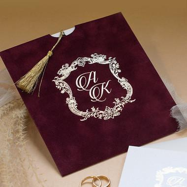 Sample of Royal Style Burgundy wedding invites