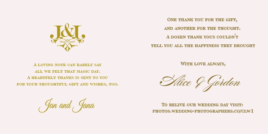 Wedding Wording For The Thank You Card Polina Perri