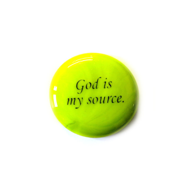 God is my source... Glass Stone From Lifeforce Glass