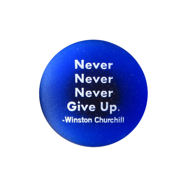 Never never never give up. Winston Churchill. By Lifeforce Glass, Inc.