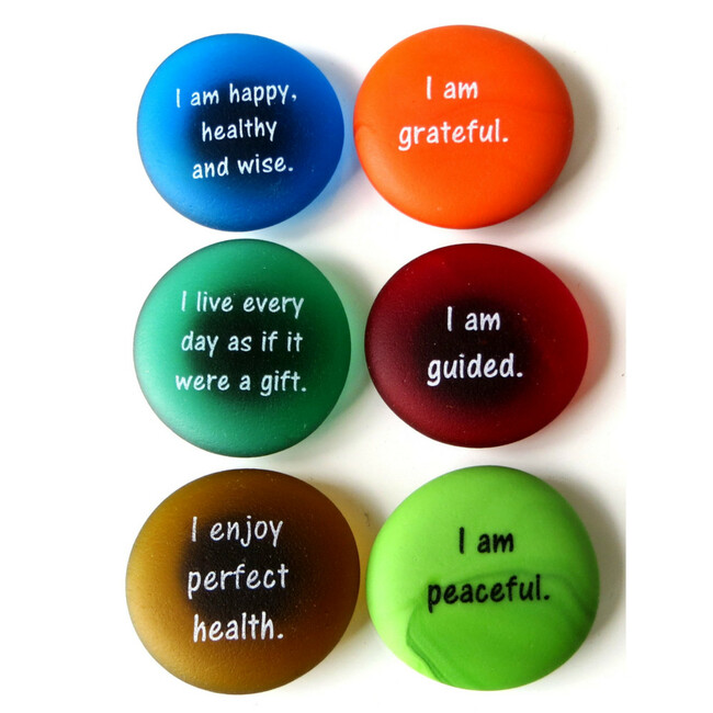 Affirmation Magnets Set I, set of six... From Lifeforce Glass