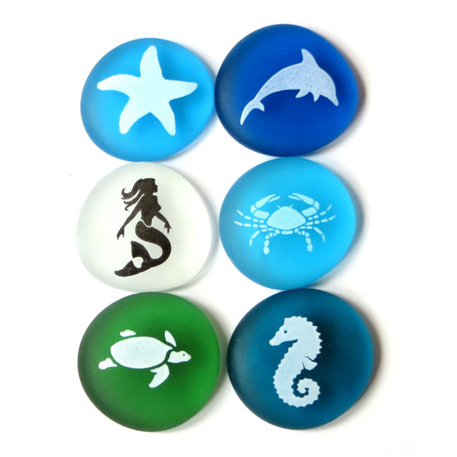The Mermaid's Message Sea Life, set of six... From Lifeforce Glass
