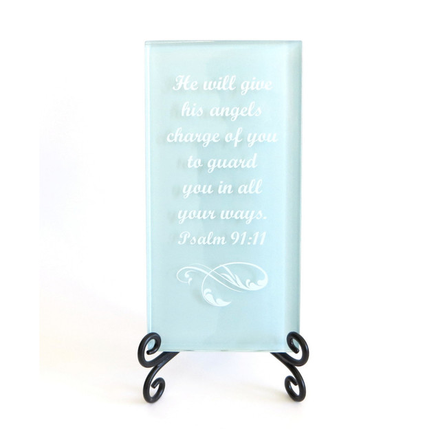 Inspirational Glass Plaque- He will give his angels charge of you by Lifeforce Glass, Inc.