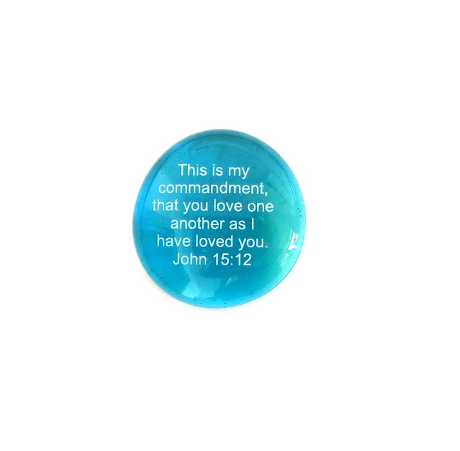 This is my commandment, that you love... Glass Stone from Lifeforce Glass