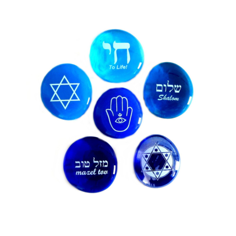 Judaica Stones, set of six...From Lifeforce Glass