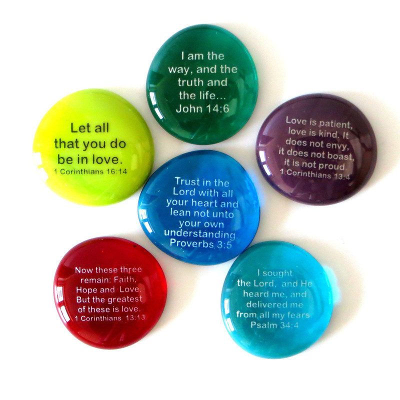 Scripture Stones Set IV, set of six... From Lifeforce Glass
