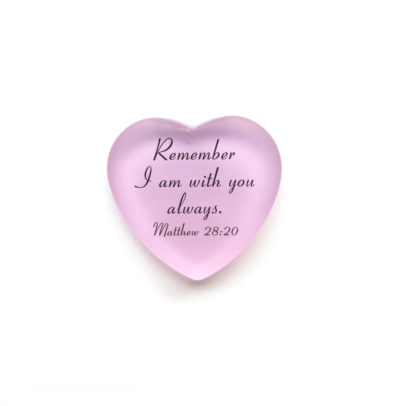 Frosted Glass Heart, Remember I am with you always, from Lifeforce Glass, pink