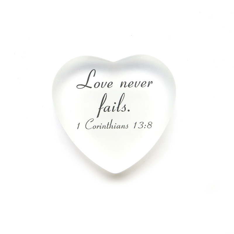Love never fails frosted glass heart from Lifeforce Glass, white