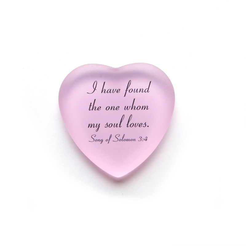 Frosted glass heart, I have found the one whom my heart loves. From Lifeforce Glass. Pink