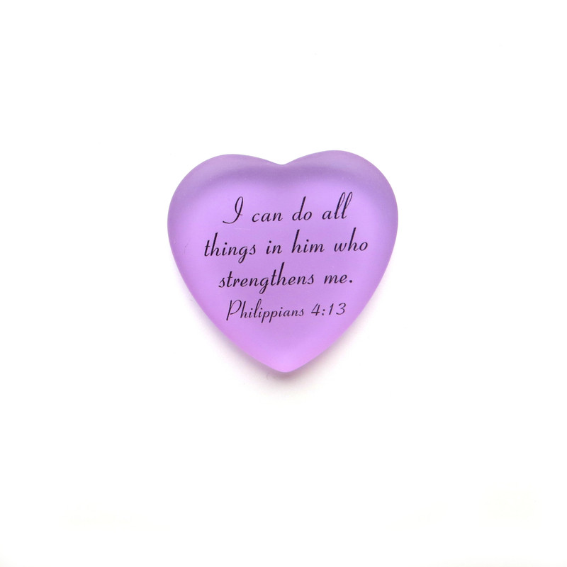 Frosted Glass Heart, I can do all things in him who strengthens me from Lifeforce Glass, lilac