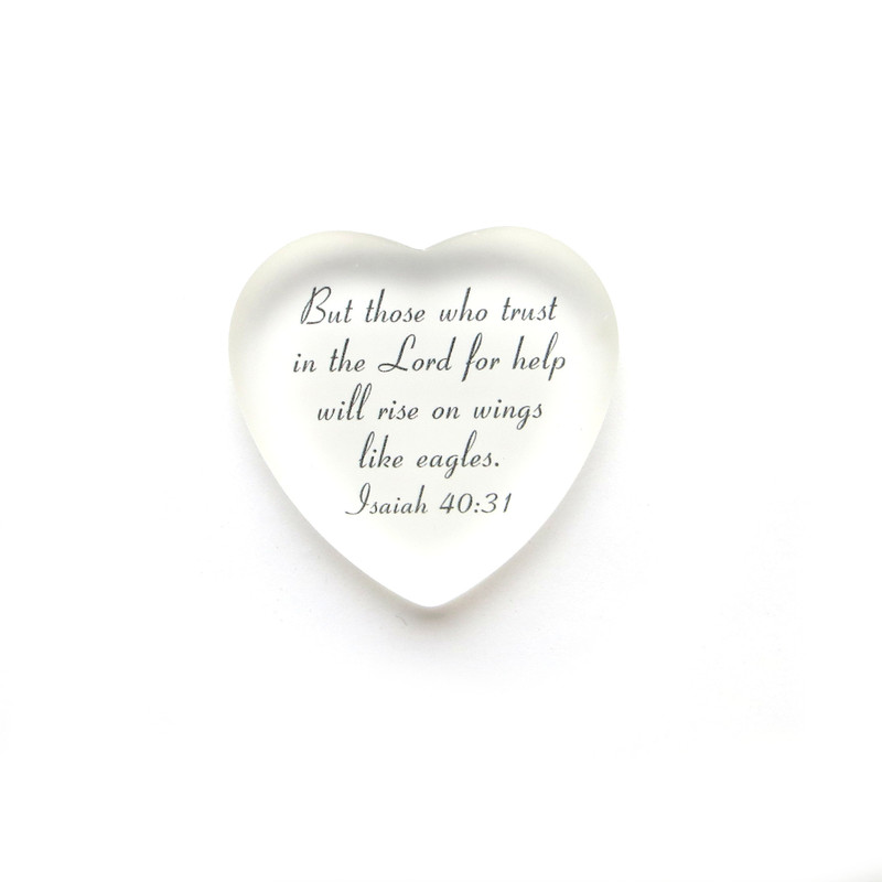 But those who trust in the Lord frosted glass heart from Lifeforce Glass, White