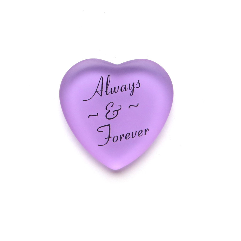Always & Forever Frosted Glass Heart from Lifeforce Glass, Lilac