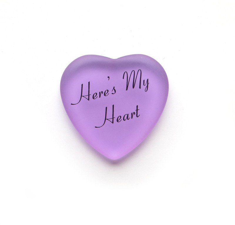 Here's My Heart glass heart from Lifeforce Glass, Inc. Lilac