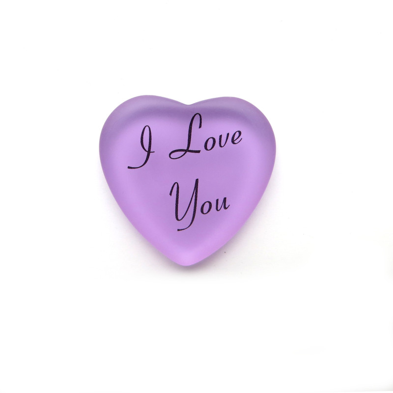 I Love You frosted glass heart from Lifeforce Glass lilac