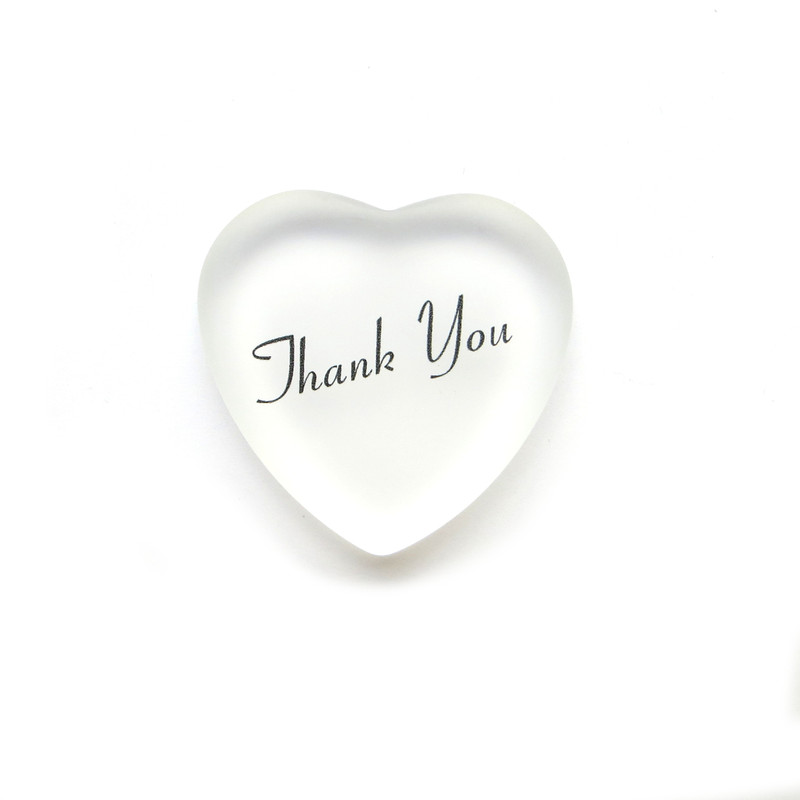 Thank you glass heart from Lifeforce Glass, Inc. White