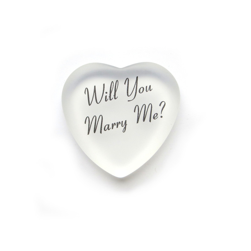 Will You Marry Me Frosted Glass Heart from Lifeforce Glass. White.