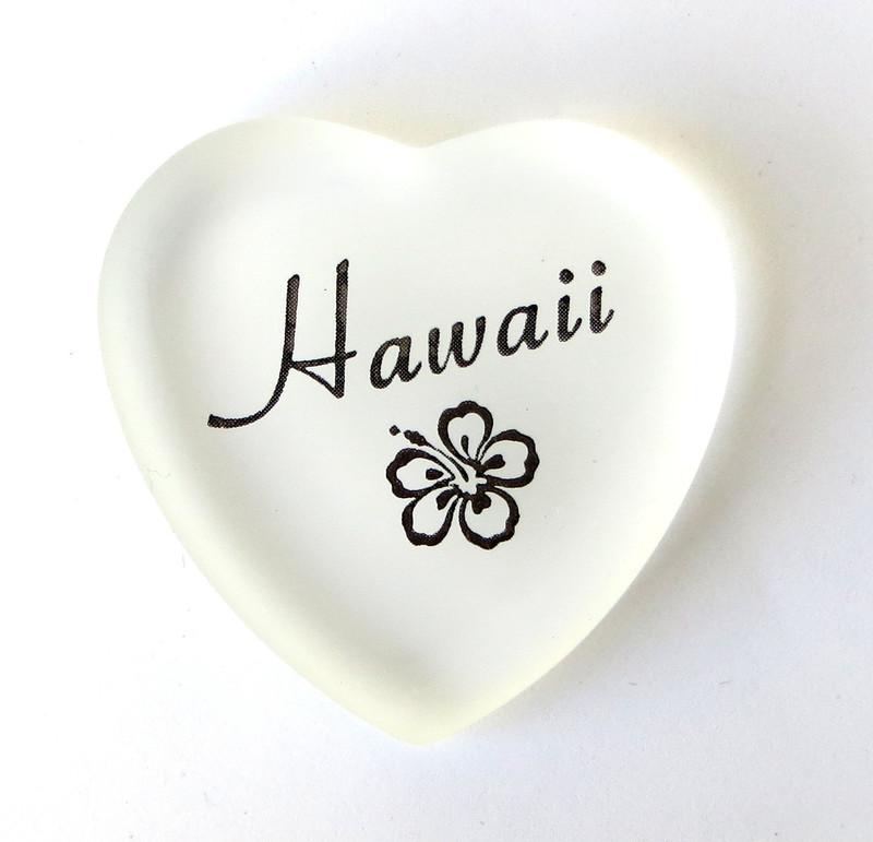 Hawaii Heart, white, from Lifeforce Glass, Inc.