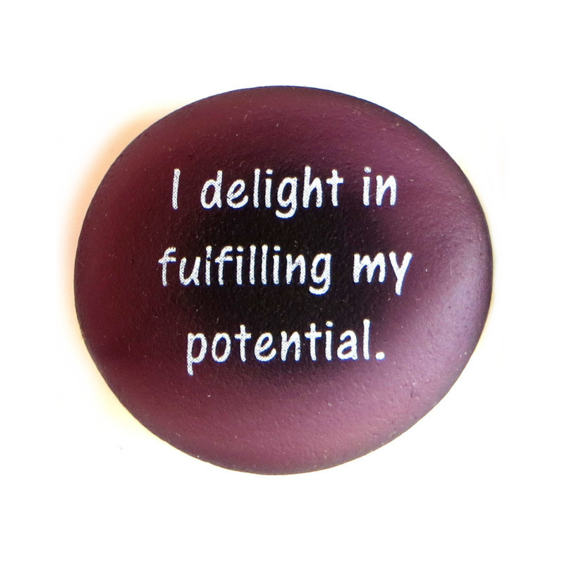 Affirmation Magnet, I delight in fulfilling my potential. By Lifeforce Glass, Inc.