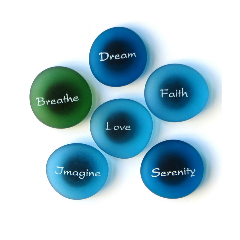 The Mermaid's Message Magnets Set II, set of six... From Lifeforce Glass
