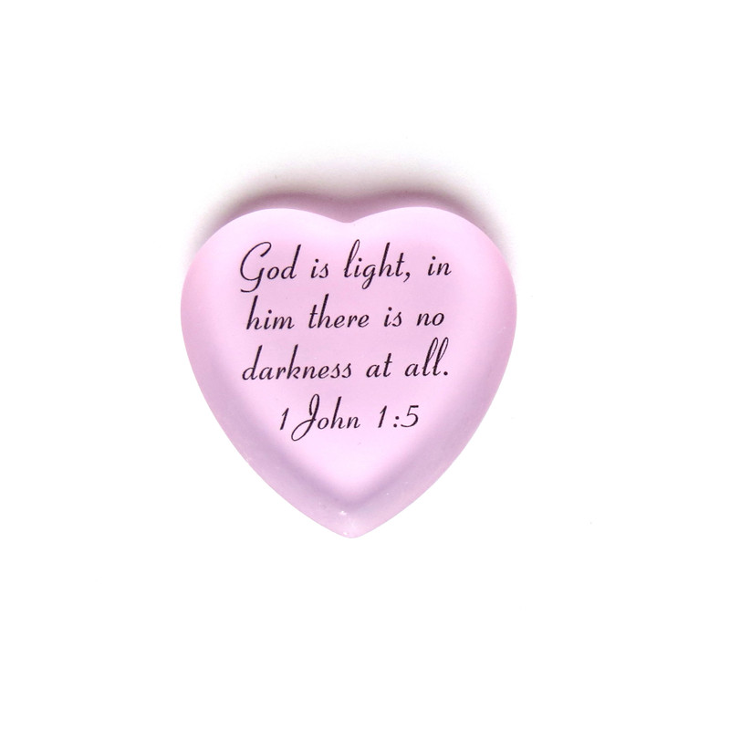 God is light, in him there is no darkness. Scripture Heart from Lifeforce Glass, Inc., Pink