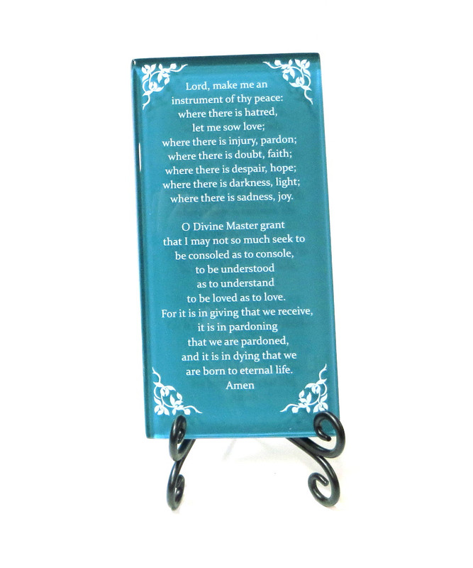 The Prayer of St. Francis Inspirational Glass Plaque from Lifeforce Glass, Teal