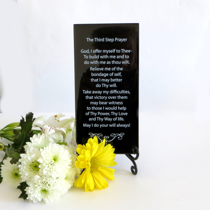 Third Step Prayer Inspirational Plaque from Lifeforce Glass, Inc. Black