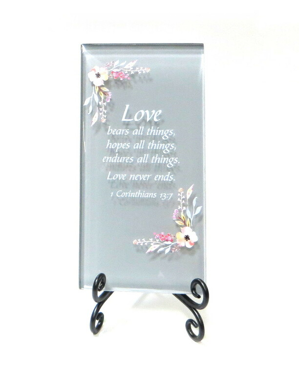 Inspirational Glass Plaque- Love bears all things, from Lifeforce Glass, Inc.