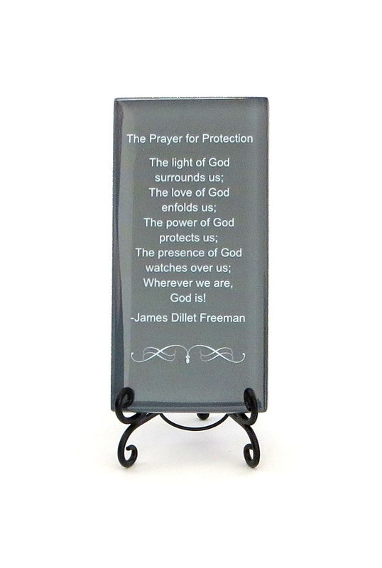 The Prayer For Protection Inspirational Glass Plaque from Lifeforce Glass, Inc.