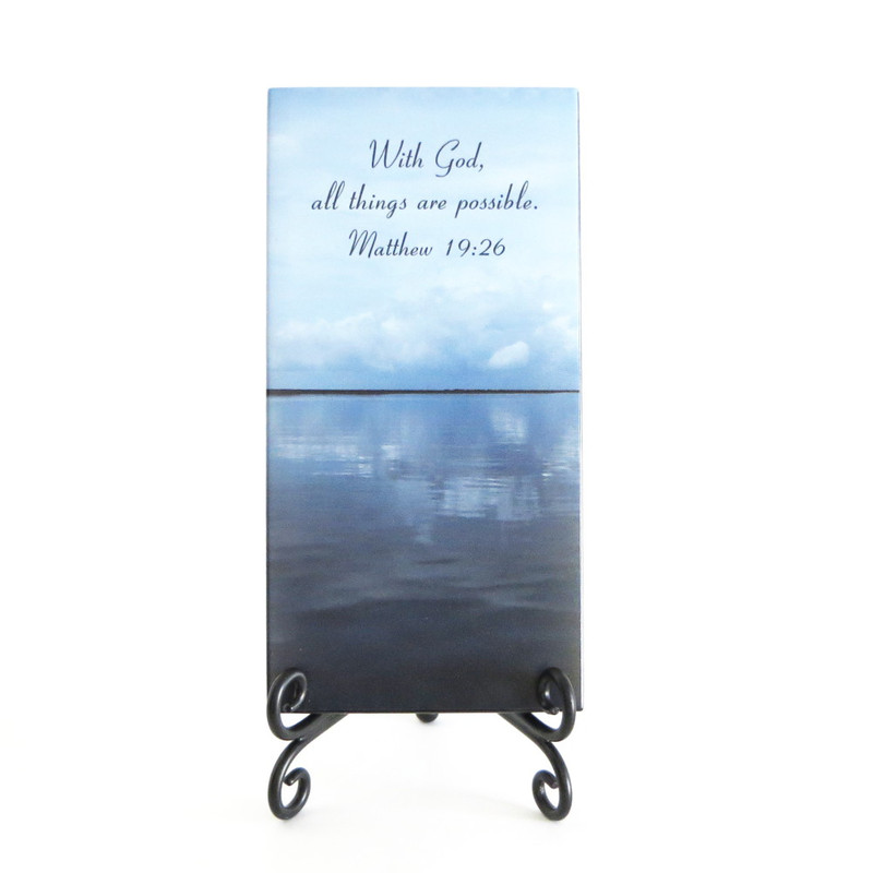 Inspirational Plaque, With God all things are possible. From Lifeforce Glass