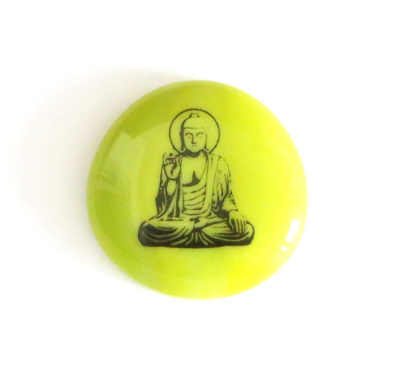 Buddhas, lime green and white