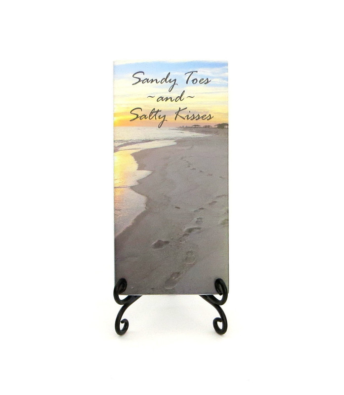 Inspirational Glass Plaque from Lifeforce Glass- Sandy toes and Salty Kisses.