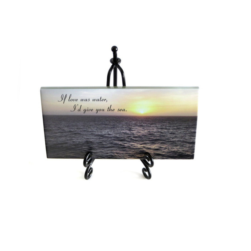 Inspirational Glass Plaque from Lifeforce Glass- If love was water, I'd give you the sea.