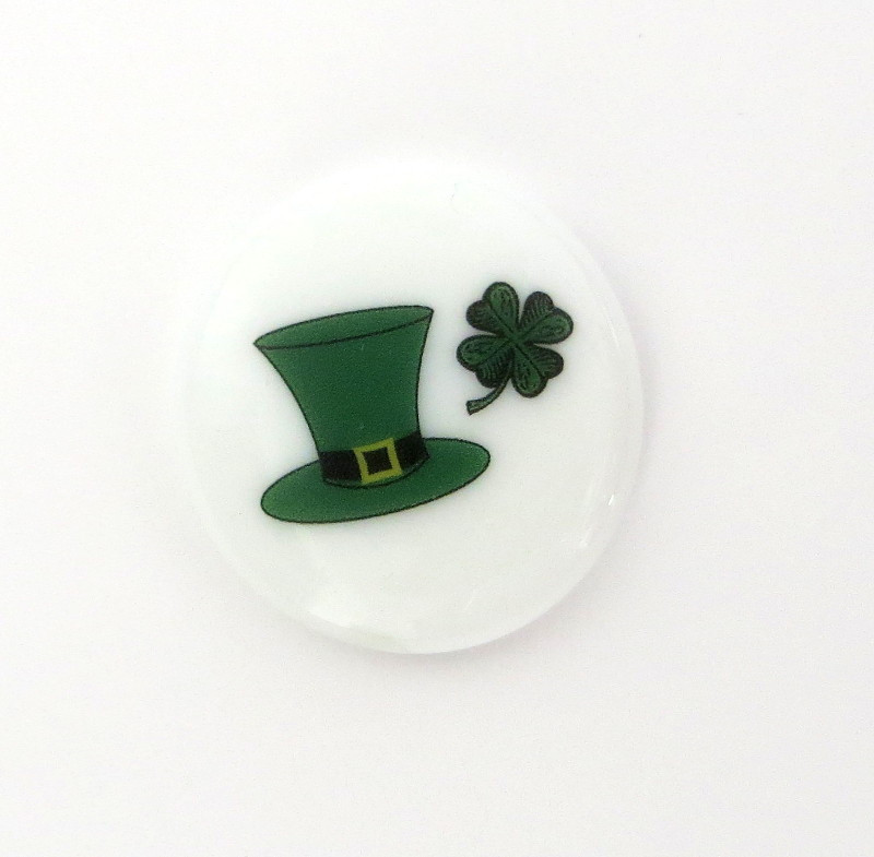 Saint Patrick's Day hat with 4 Leaf Clover Glass Stone from Lifeforce Glass