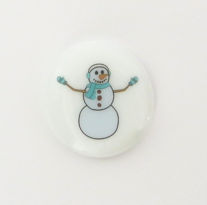 Snowman Glass Stone from Lifeforce Glass