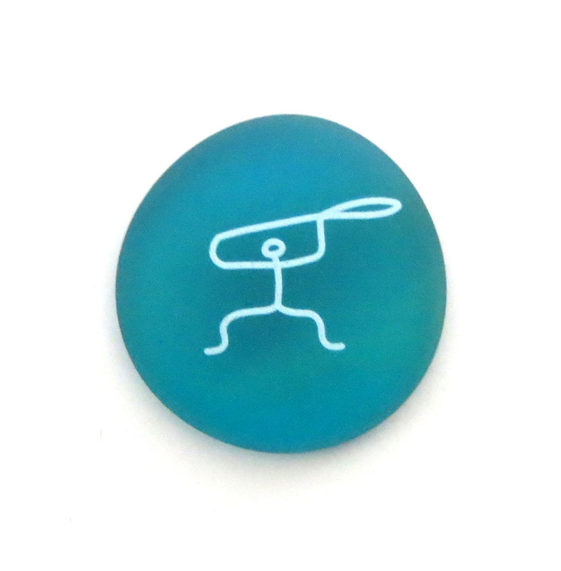 Male Paddler Petroglyph... From Lifeforce Glass