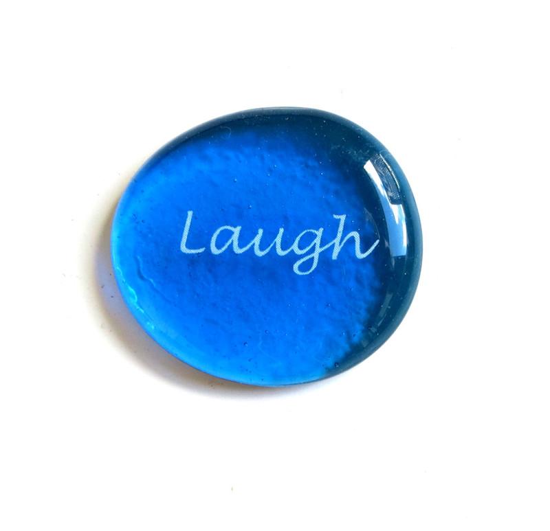 Laugh, Script, Original Printing Method, Aqua & Cobalt