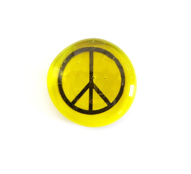 Peace sign, yellow and amber, original printing
