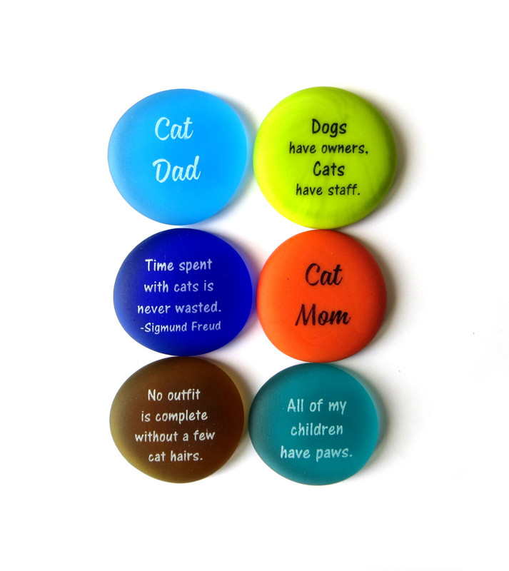 Cat Lover Stones, Six Frosted Glass Stones