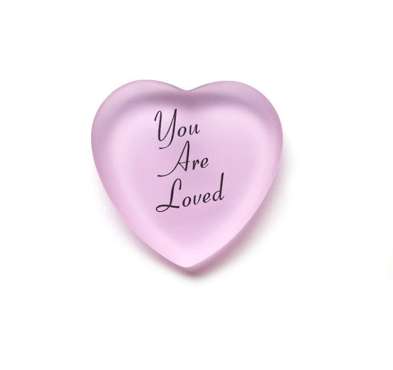 You Are Loved Heart from Lifeforce Glass, pink