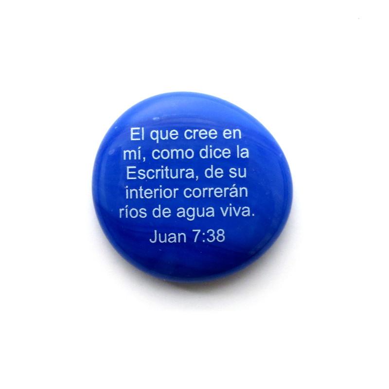 El que cree en mí, como dice la Escritura, de su interior correrán ríos de agua viva. Juan 7:38 Glass stone from Lifeforce Glass