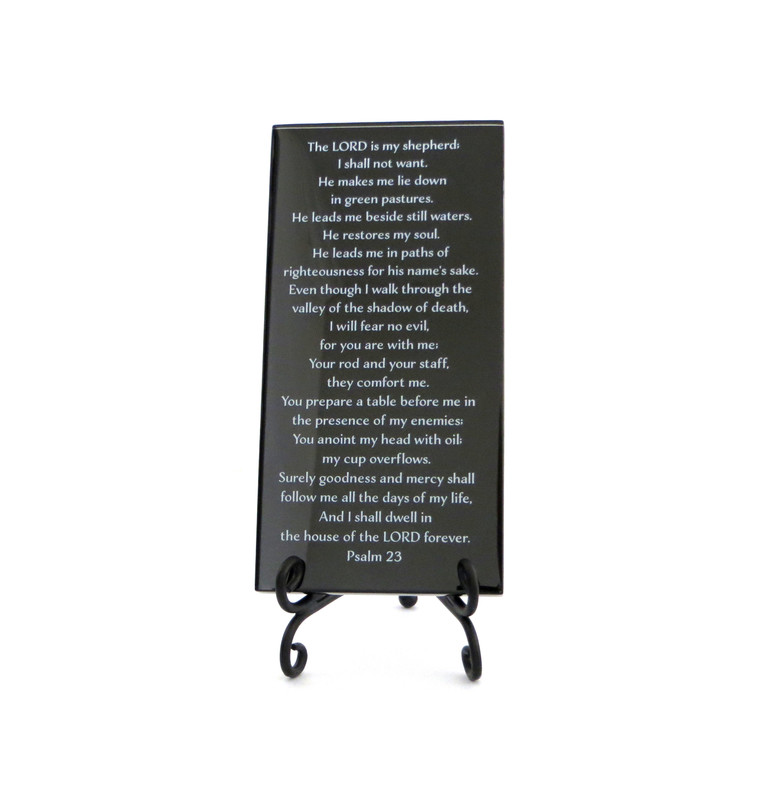 The Twenty-Third Psalm glass plaque from Lifeforce Glass. Black