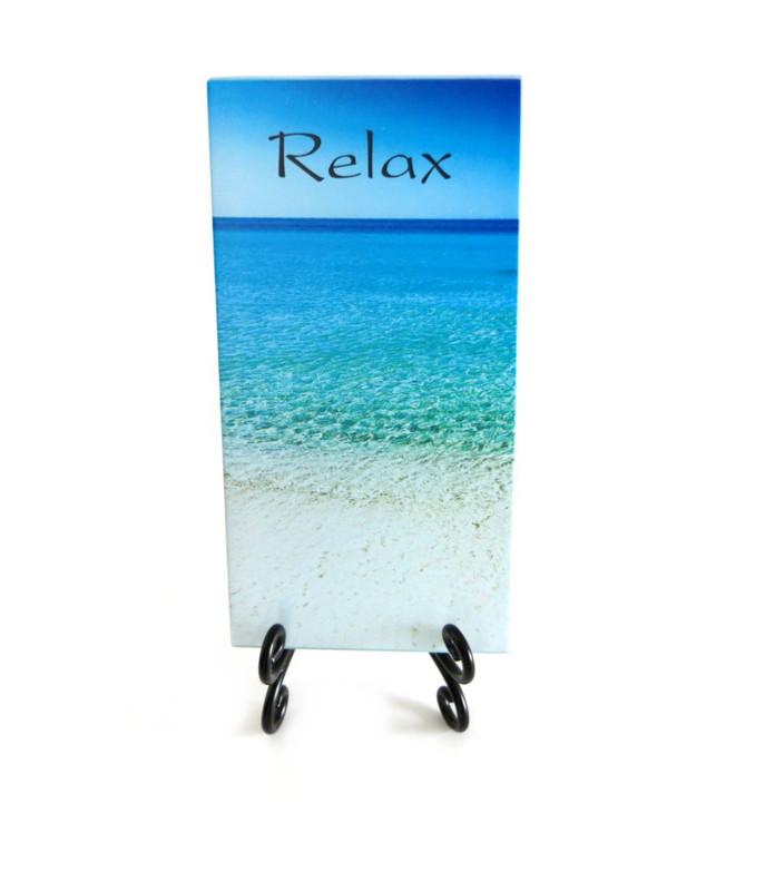 Inspirational Glass Plaque- Relax
