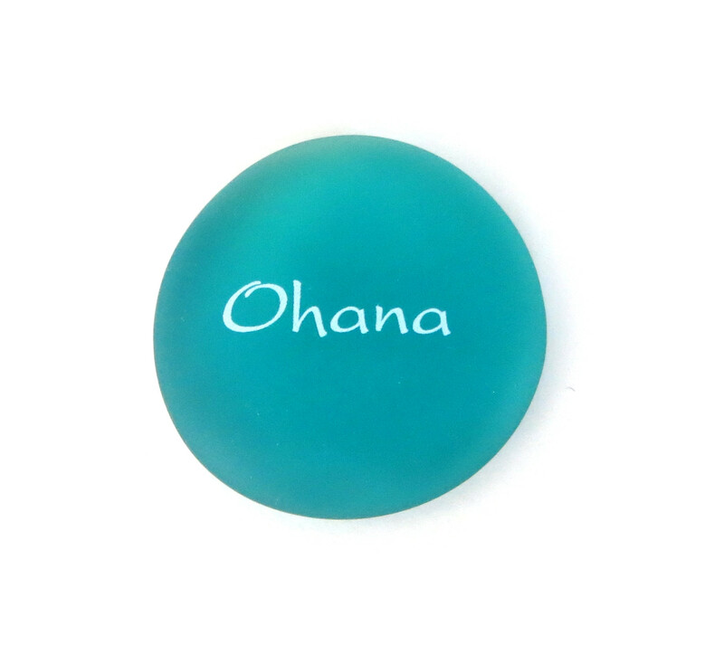 Ohana Mermaid Message stone from Lifeforce Glass, teal