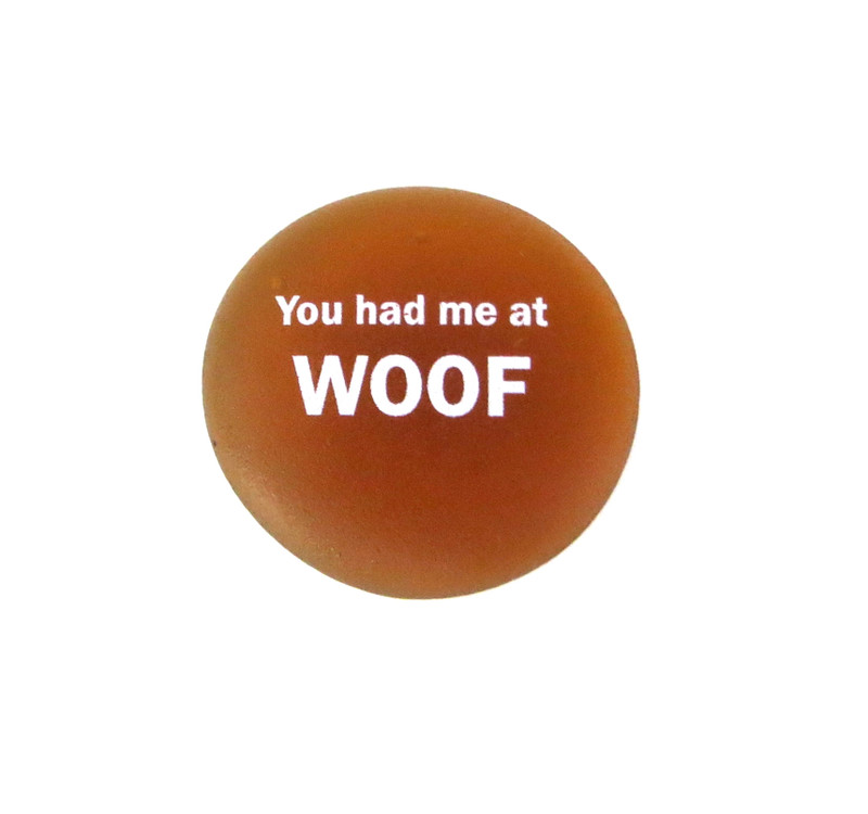 You had me at WOOF, frosted glass stone from Lifeforce Glass, amber
