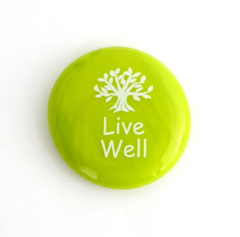 Live Well on opal lime green stones