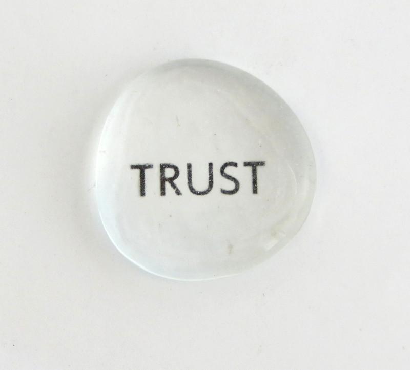 Trust, all caps, clear stones