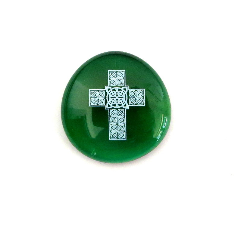 Celtic Cross... Glass Stone from Lifeforce Glass
