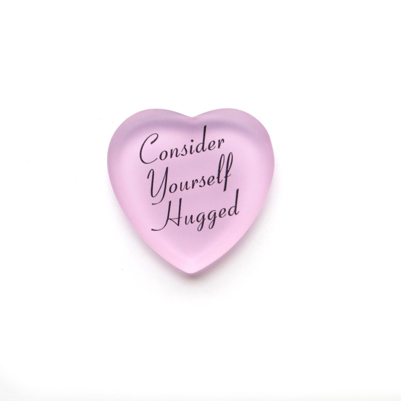 Consider Yourself Hugged Heart, Pink, from Lifeforce Glass, Inc.
