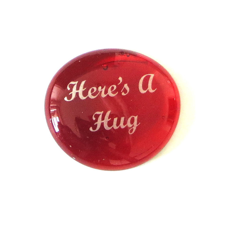 Here's A Hug... Glass Stone From Lifeforce Glass, Red